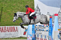 Equestrian sport. female rider show jumps Stock Image