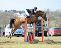 Equestrian sport horse jumping christopher burton and wild duchess winners of open intermediate section j gatcombe trials Stock Photos