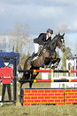 Equestrian sport horse jumping paul tapner and indian mill winners of advanced intermediate section l gatcombe trials Royalty Free Stock Images