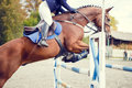 Equestrian sport image. Show jumping competition Royalty Free Stock Photo