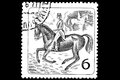 Equestrian sport on a postage stamp black and white engraving Stock Photo