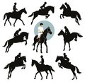 Equestrian sports horse and rider jumping vector silhouettes set eps Stock Image