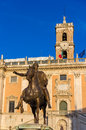 Equestrian statue of marcus aurelius and palazzo senatorio in rome italy Royalty Free Stock Photos