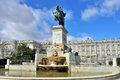 An equestrian statue philip iv madrid monument to on plaza de oriente central gardens located between the royal palace and the Stock Image