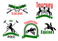 Equestrian tournament polo or equine club symbol jumping and rearing up horses dressage whips mallets and trophy cups icons framed Stock Photo
