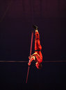 Equilibrium artist from orlando circus in on rope bucharest romania Royalty Free Stock Image