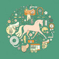 Equine concept modern line style circle conceptual illustration with different horseriding elements including horse saddle bit Stock Image