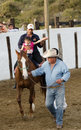 Equine therapy exhibition of for child with muscular disorder horse therapist and helpers in arena Stock Images