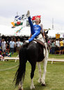 Equine vaulting young lady performs routine on horseback at the rio grande valley celtic festival in albuquerque new mexico Stock Photos