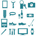 Equipment and accessories for men graphic icon on white background Royalty Free Stock Image