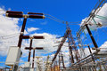 Equipment of electric substation production and distribution energy Stock Photos
