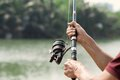 Equipment for fishing close shot of human hands holding a rod on the foreground Stock Image