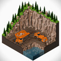 Equipment for high mining industry vector isometric illustration of a quarry heavy duty dumper and a articulated backhoe excavator Stock Photography