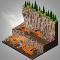 Equipment for high mining industry vector isometric illustration of a quarry heavy duty truck articulated grader and a two types Stock Images