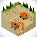 Equipment for high mining industry vector isometric illustration of a quarry heavy duty truck and a excavator Stock Photo