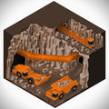 Equipment for high mining industry vector isometric illustration of a underground quarry articulated dump truck train and a Royalty Free Stock Photography