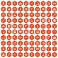 100 equipment icons hexagon orange