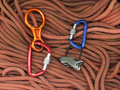 Equipment for mountaineering and climbing rock are on the rope Royalty Free Stock Image