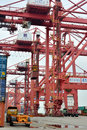 Equipment and operation in container dock xiamen china fujian province shown as working operations cargo area industrial of Royalty Free Stock Photography