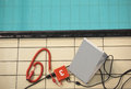 Equipment for swimming competitions measuring time during Stock Image