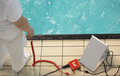 Equipment for swimming competitions measuring time during Stock Photography