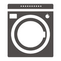 Equipment for washing clothes. Household appliances Modern washing machine isolated on purple background. Washer.