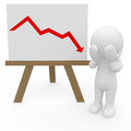 Equities crash on whiteboard stock graph crashing sad situation Stock Photography