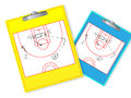 Erasable basketball coach board with hand drown plays Stock Photography