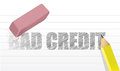 Erase bad credit concept illustration design over a white background Stock Image