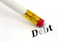 Erase debt concept of erasing with a white pencil to allow personalised logos text Stock Photography