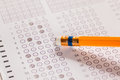 Erase wrong answer on Exam carbon paper computer sheet and penci Royalty Free Stock Photo