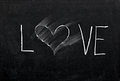 Erased heart on chalkboard Stock Images
