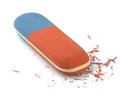 Eraser red and blue isolated on white Royalty Free Stock Photo