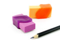 Erasers and pencil Royalty Free Stock Photo