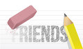 Erasing or deleting friends concept illustration design over white Stock Photography
