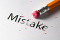 Erasing mistake removing word with pencil s eraser Stock Images