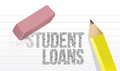 Erasing student loans concept illustration design over white Royalty Free Stock Photos