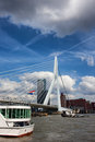 Erasmus bridge over nieuwe maas river in rotterdam dutch erasmusbrug the city downtown of south holland the netherlands Royalty Free Stock Photo