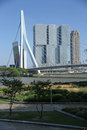 Erasmusbridge skyline of rotterdam with Stock Photography