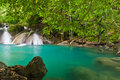 Eravan Waterfall, Kanchanabury, Thailand Royalty Free Stock Photo