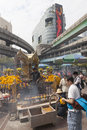 Erawan shrine in bangkok where bomb was planted popular place for prayer downtown http www telegraph co uk news Royalty Free Stock Photo