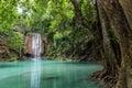 Erawan waterfall in deep forest at Erawan National Park, Kanchanaburi, Thailand Royalty Free Stock Photo