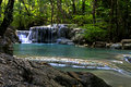 Erawan waterfall with forest green in kanchanaburi thailand Royalty Free Stock Photography