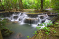 Erawan waterfall iii huay mae khamin paradise in deep jungle of thailand Royalty Free Stock Photography
