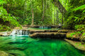 Erawan waterfall. Royalty Free Stock Photo