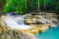 Erawan waterfall kanchanaburi thailand beautiful natural travel Royalty Free Stock Photo