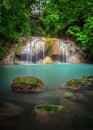 Erawan waterfall national park kanjanaburi deep forest at thailand Stock Photo