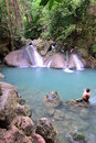 Erawan Waterfall, Thailand Stock Photo