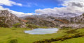 Ercina lake from la picota the of enol in asturias spain Royalty Free Stock Photography