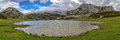 Ercina lake panoramic of the from water level in asturias spain Royalty Free Stock Photo